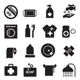 Silhouette Hygiene icons set Stock Photography