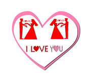 Silhouette I Love You Illustration Stock Photography