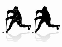 Silhouette of a ice hockey player. vector drawing Stock Photo