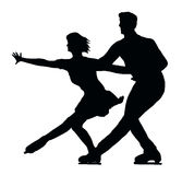 Silhouette Ice Skater Couple Side by Side stock photo