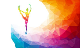 Silhouette of ice skating girl on multicolor back. Creative silhouette of ice skating girl. Ice show, colorful vector illustration with background or banner Royalty Free Stock Images