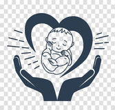Silhouette icon of the birth of a child. Concept of the birth of a child, in the form of a child, hands and heart. silhouette icon  in the linear style Stock Photo