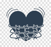 Silhouette icon of heartache. Concept of heartache, heart torment in barbed wire. silhouette icon in the linear style Stock Photos