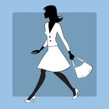 Silhouette icon modern young woman goes. The image of a modern young woman who is in a hurry. Girl in dress with handbag stock illustration