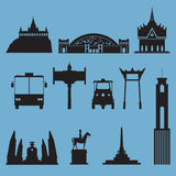 Silhouette icon set of Bangkok city landmark. Capital of Thailand. Royalty Free Stock Photo