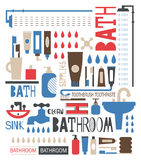 Silhouette icons of bathroom and toilet articles. Pattern of silhouette pattern with bathroom and toiletries in colors stock illustration