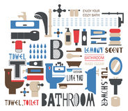 Silhouette icons of bathroom and toilet articles Royalty Free Stock Images