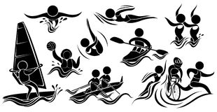 Silhouette icons for many sports. Illustration Royalty Free Stock Photos