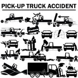 Silhouette icons of pickup truck accident Royalty Free Stock Photography