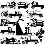 Silhouette icons of pickup truck accident Royalty Free Stock Images