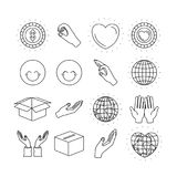 Silhouette icons set earth world and charity symbols. Vector illustration Stock Photo