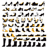Silhouette Icons set of fashion Footwear four seasons Royalty Free Stock Image