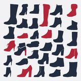Silhouette Icons set of fashion shoes Stock Photos