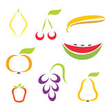 Silhouette icons of various fruit Royalty Free Stock Image