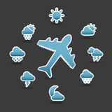 Silhouette icons of weather and aircraft Stock Photo