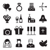 Silhouette icons Wedding, bride and groom, love, celebration.  Stock Photo