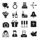 Silhouette icons Wedding, bride and groom, love, celebration. Royalty Free Stock Photos
