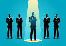 Businessman being spotlighted. Silhouette illustration of a businessman being spotlighted among other businessmen. Stand out from the crowd, promotion, chosen vector illustration