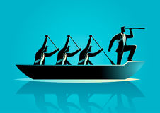 Businessmen rowing the boat. Silhouette illustration of businessmen rowing the boat, teamwork, success, leadership in business concept stock illustration
