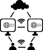 Cloud computing with laptop, globe icon and wifi symbol royalty free stock photos