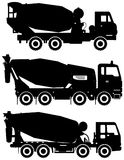 Set of different silhouettes concrete mixer. Heavy construction machines. Vector illustration. Silhouette illustration of concrete mixers, heavy equipment and Stock Images