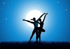 Silhouette illustration of a couple dancing ballet vector illustration