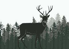 Deer in the woods. Silhouette illustration of a deer in the woods Royalty Free Stock Photography