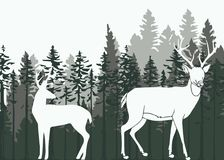 Deer in the woods. Silhouette illustration of a deer in the woods Stock Photography