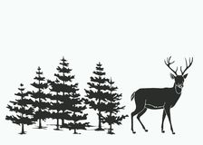 Deer in the woods. Silhouette illustration of a deer in the woods royalty free illustration