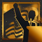 A silhouette illustration of Dr. Martin Luther King, Jr., giving a speech with the United States of America National Flag. On the background in black and gold vector illustration