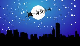 Silhouette Illustration of Flying Santa Royalty Free Stock Images