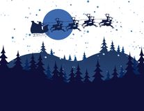 Silhouette Illustration of Flying Santa Stock Photography