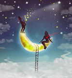 Silhouette illustration of a girl and a boy  sitting on  moon. Silhouette illustration of a girl sitting on  moon and a boy playing the saxophone Stock Photo