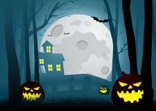 Silhouette illustration of a house in the dark scary woods Royalty Free Stock Photo