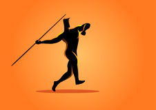 Silhouette of a javelin throw athlete Stock Images