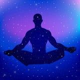 Silhouette illustration of a male figure meditating. On nebula background Royalty Free Stock Image
