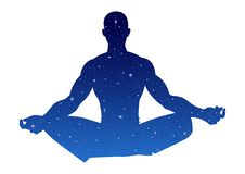 Silhouette illustration of a male figure meditating. With stars texture Royalty Free Stock Image