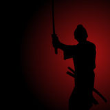 Silhouette illustration of a samurai Royalty Free Stock Photo