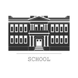 Silhouette illustration school building in a flat style. Silhouette illustration of classical school building in a flat style Stock Images