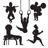 Silhouette illustration set of male athletes. Vector sport black silhouette Royalty Free Stock Photo