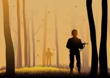 Silhouette illustration of soldiers Royalty Free Stock Photo