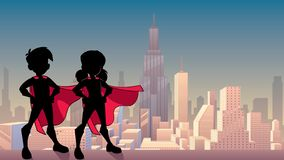 Super Kids City Silhouette. Silhouette illustration of superhero children wearing capes against city background for copy space stock illustration