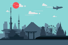 Silhouette illustration of Tokyo city in Japan.Japan landmarks Stock Images