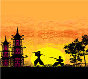 Silhouette illustration of two ninjas in duel Stock Photos