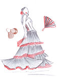 Silhouette illustrations girl in flamenco dress Royalty Free Stock Image