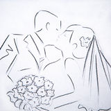 Silhouette illustrations kiss the bride and groom Stock Photo