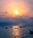 Silhouette image of fishing boat Stock Photography