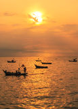 Silhouette image of fishing boat Royalty Free Stock Photography
