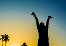 Silhouette image of Happy woman in nature. Silhouette image of Happy woman in nature on sunset time Royalty Free Stock Photography