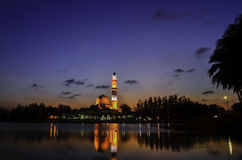 Silhouette image of iconic floating mosque Royalty Free Stock Photos